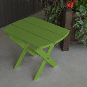 A & L Furniture Solid Knotfree Yellow Pine Folding Oval End Table Table Lime Green