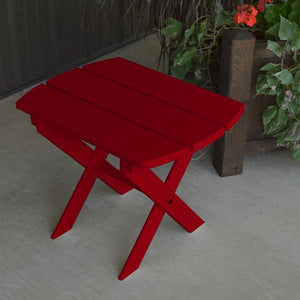 A & L Furniture Solid Knotfree Yellow Pine Folding Oval End Table Table Tractor Red