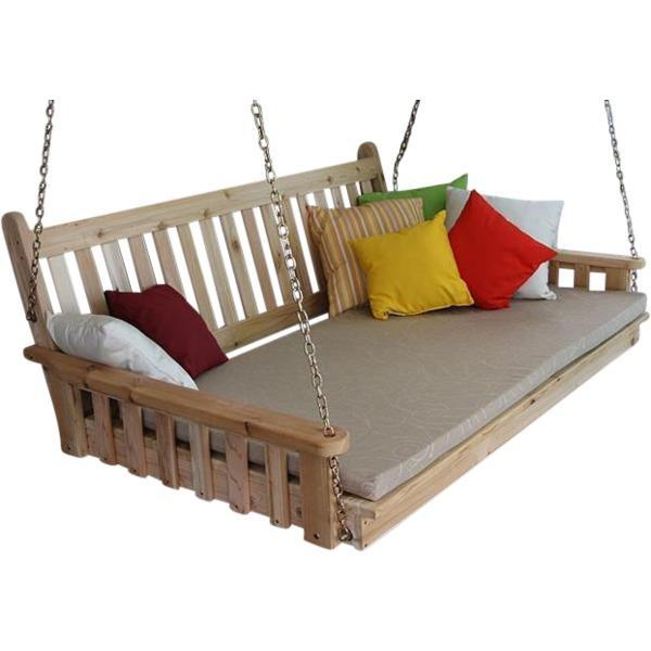 A & L Furniture Traditional English Red Cedar Swing Bed Swing Beds 4ft / Unfinished / No