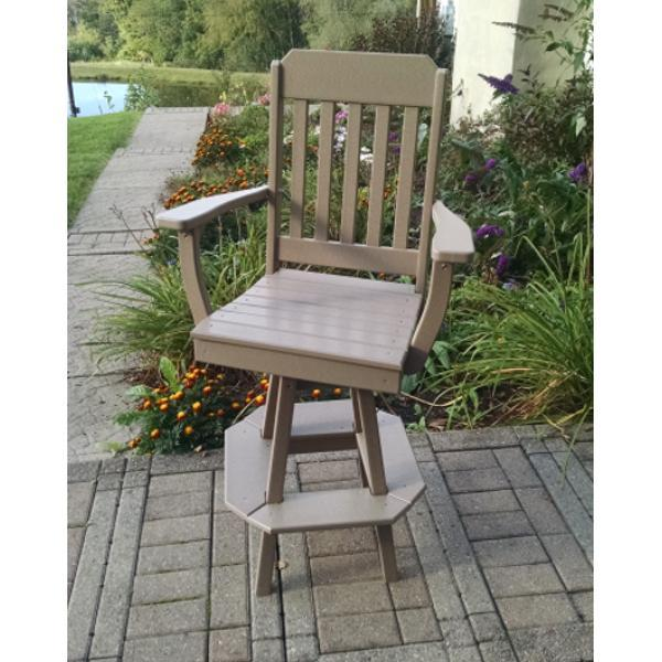 A & L Furniture Traditional Swivel Bar Chair with Arms Outdoor Chairs Aruba Blue