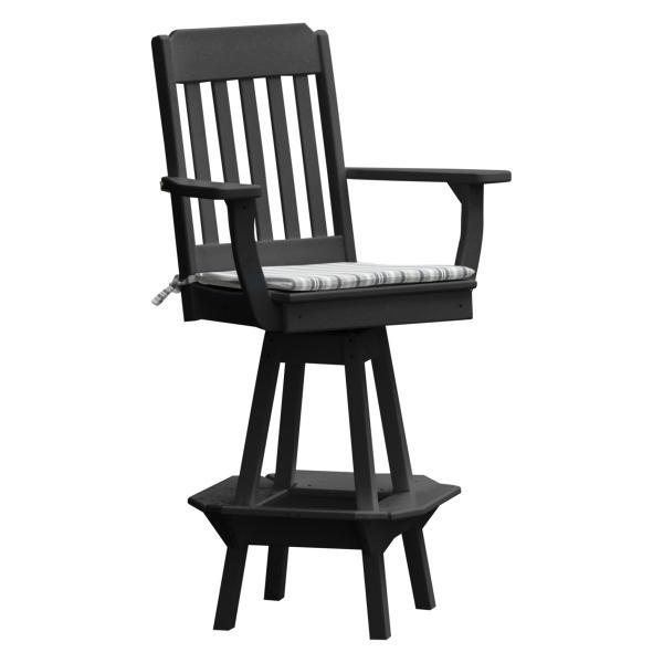 A & L Furniture Traditional Swivel Bar Chair with Arms Outdoor Chairs Black