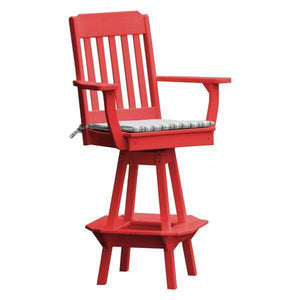 A & L Furniture Traditional Swivel Bar Chair with Arms Outdoor Chairs Bright Red