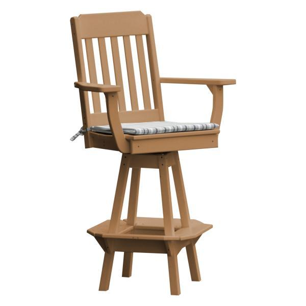 A & L Furniture Traditional Swivel Bar Chair with Arms Outdoor Chairs Cedar