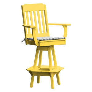 A & L Furniture Traditional Swivel Bar Chair with Arms Outdoor Chairs Lemon Yellow