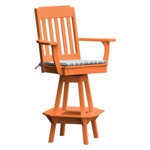 A & L Furniture Traditional Swivel Bar Chair with Arms Outdoor Chairs Orange