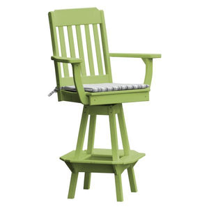 A & L Furniture Traditional Swivel Bar Chair with Arms Outdoor Chairs Tropical Lime