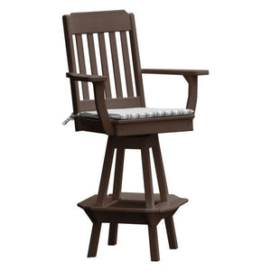 A & L Furniture Traditional Swivel Bar Chair with Arms Outdoor Chairs Tudor Brown