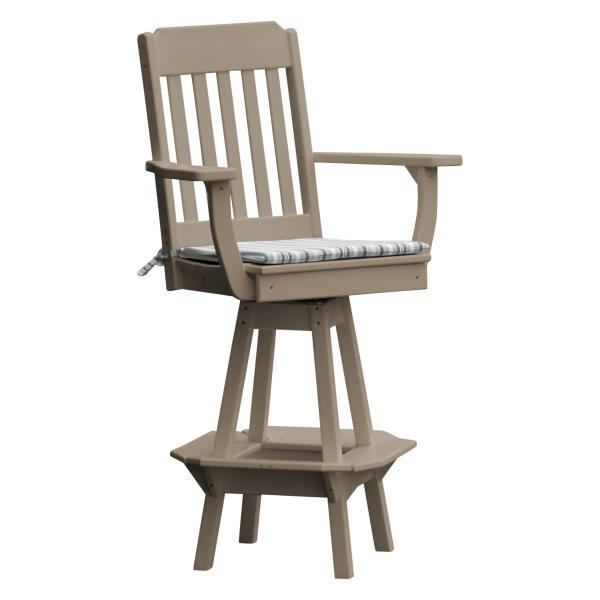 A & L Furniture Traditional Swivel Bar Chair with Arms Outdoor Chairs Weathered Wood