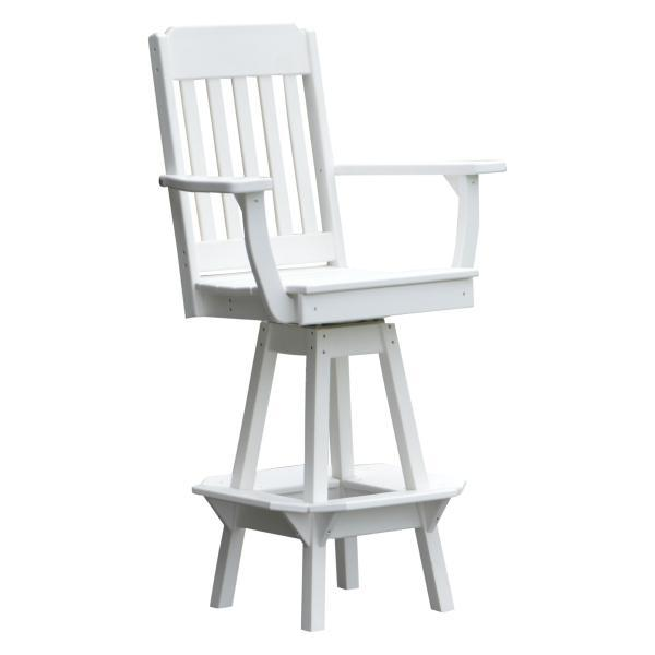 A & L Furniture Traditional Swivel Bar Chair with Arms Outdoor Chairs White