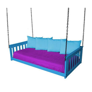 A & L Furniture VersaLoft Mission Hanging Daybed with Chain Daybed Twin / Caribbean Blue
