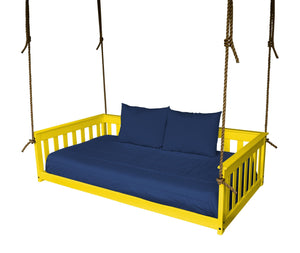 A & L Furniture VersaLoft Mission Hanging Daybed with Rope Daybed Twin / Canary Yellow