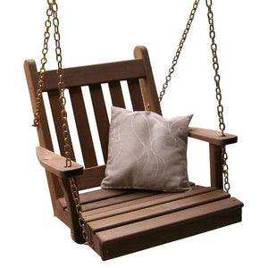 A & L Furniture Western Red Cedar 2ft Traditional English Chair Swing Porch Swings Mushroom