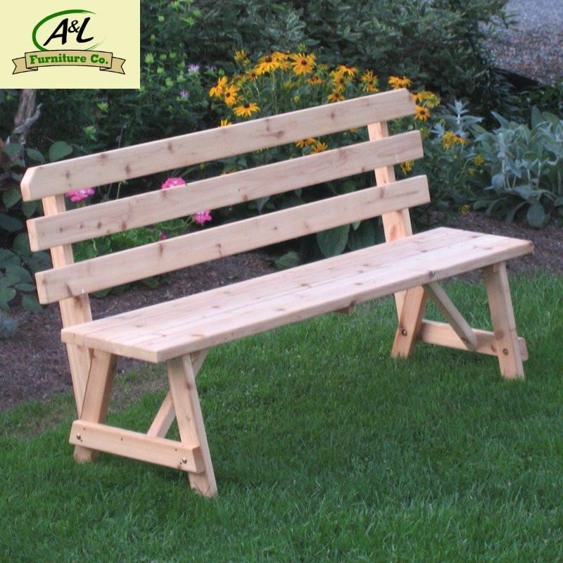 A & L Furniture Western Red Cedar Bench with Back Garden Benches 2ft / Unfinished