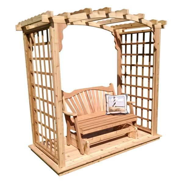 A & L Furniture Western Red Cedar Cambridge Arbor with Deck & Glider Porch Swing Stands 5ft / Unfinished