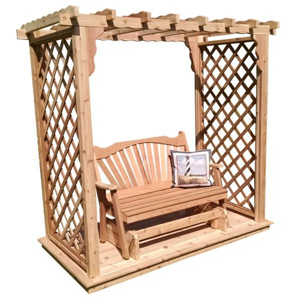 A & L Furniture Western Red Cedar Covington Arbor with Deck & Glider Porch Swing Stands 5ft / Unfinished