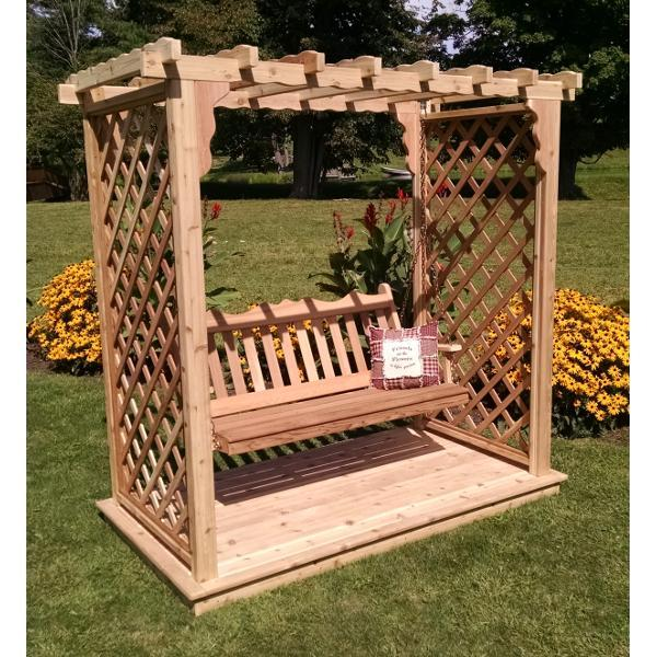 A & L Furniture Western Red Cedar Covington Arbor with Deck & Swing Porch Swings 5ft / Unfinished