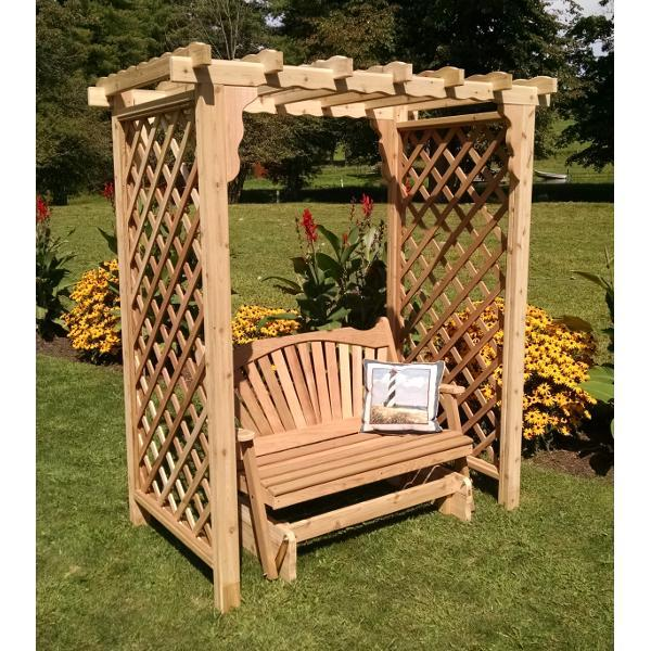 A & L Furniture Western Red Cedar Covington Arbor with Glider