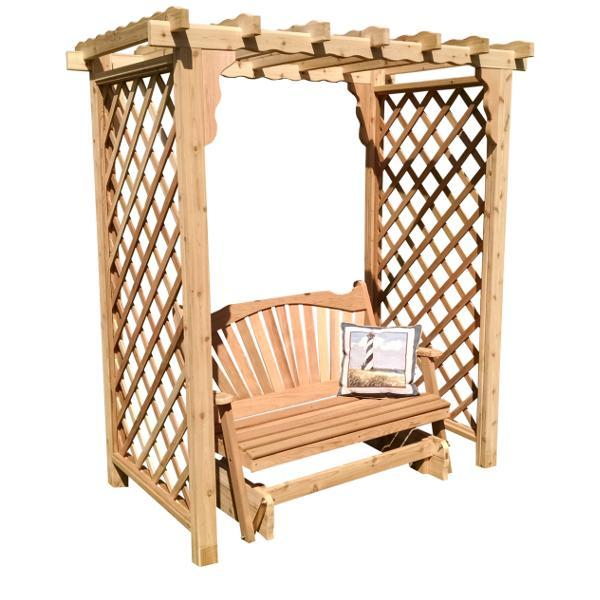 A & L Furniture Western Red Cedar Covington Arbor with Glider Porch Swing Stands 5ft / Unfinished