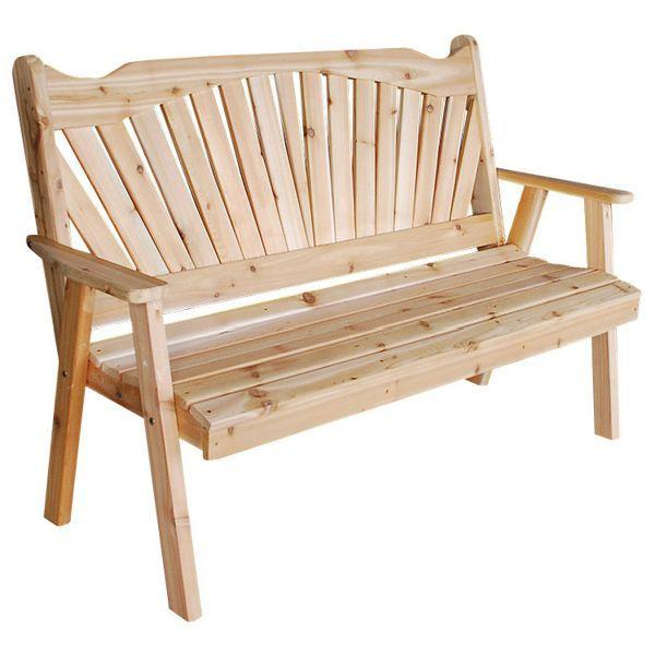 A & L Furniture Western Red Cedar Fanback Garden Bench Garden Benches 4ft / Unfinished