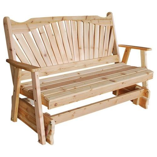 A & L Furniture Western Red Cedar Fanback Glider Gliders 4ft / Unfinished