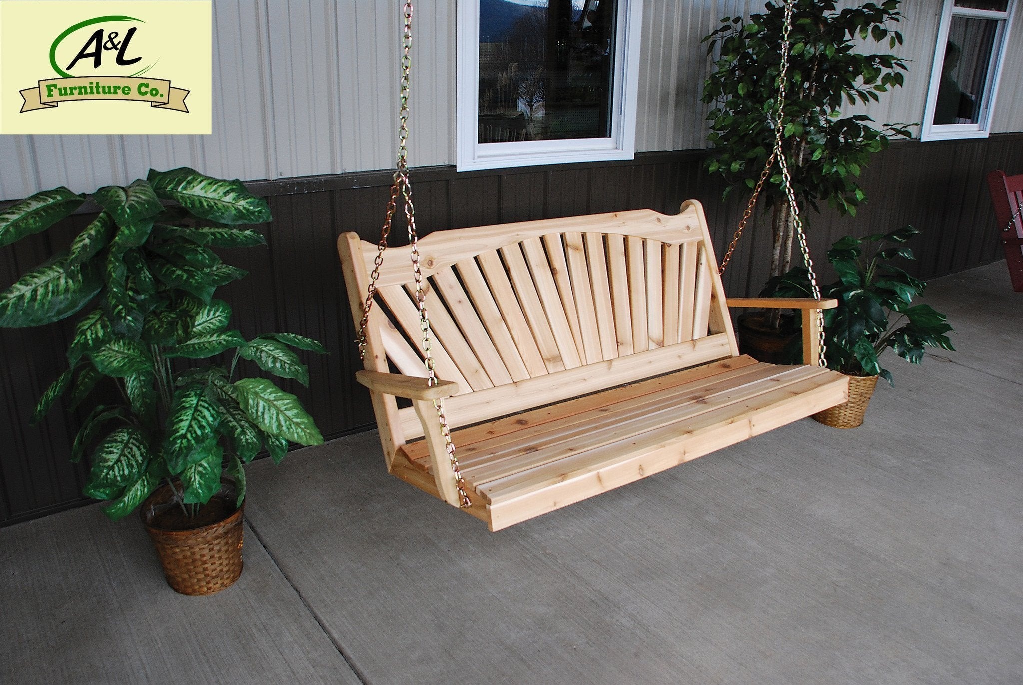 A & L Furniture Western Red Cedar Fanback Porch Swing Porch Swings 4ft / No / Unfinished