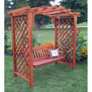 A & L Furniture Western Red Cedar Jamesport Arbor & Swing Porch Swings 5ft / Unfinished