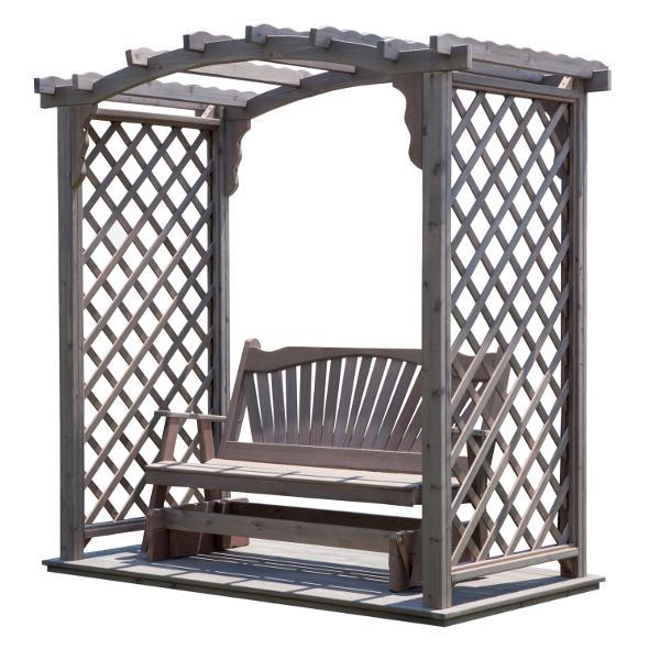 A & L Furniture Western Red Cedar Jamesport Arbor with Deck & Glider Porch Swing Stands 5ft / Unfinished