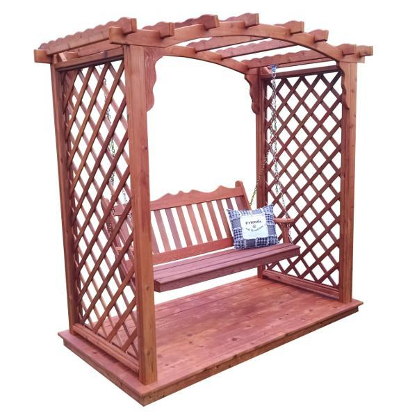A & L Furniture Western Red Cedar Jamesport Arbor with Deck & Swing Porch Swings 5ft / Unfinished