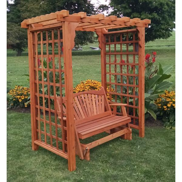 A & L Furniture Western Red Cedar Lexington Arbor with Glider Porch Swing Stands 5ft / Unfinished