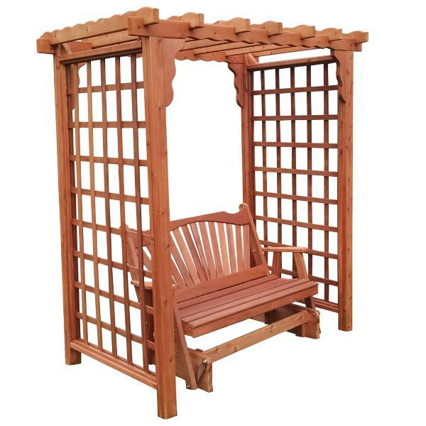 A & L Furniture Western Red Cedar Lexington Arbor with Glider