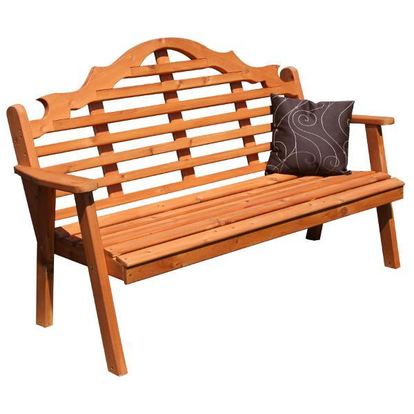A & L Furniture Western Red Cedar Marlboro Garden Bench Garden Benches 4ft / Unfinished