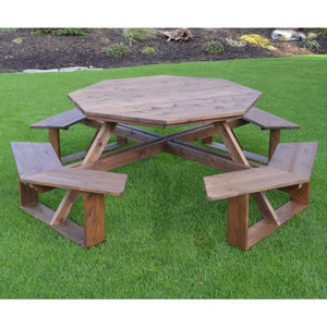 A & L Furniture Western Red Cedar Octagon Walk-In Table Picnic Table Unfinished / No