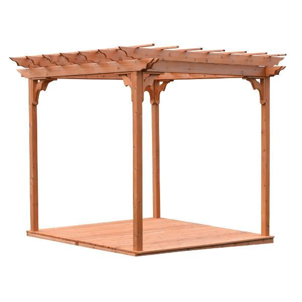 A & L Furniture Western Red Cedar Pergola with Deck & Swing Hangers Pergolas 6'x8' / Unfinished