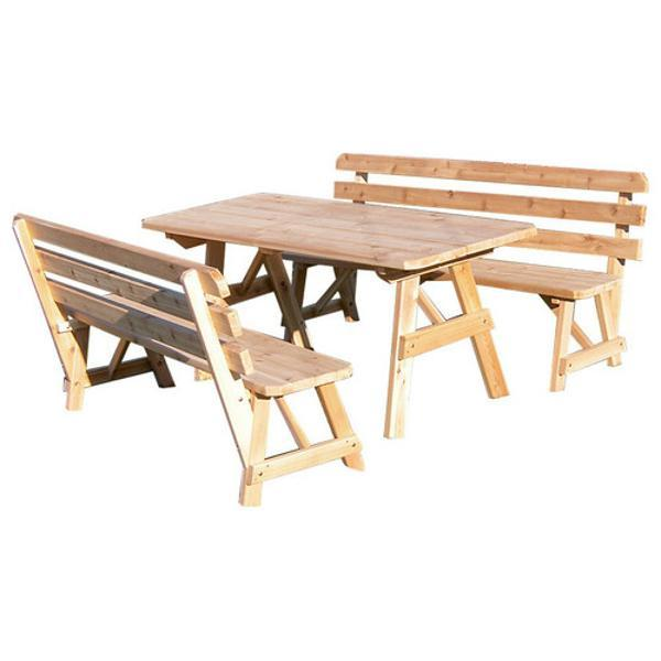A & L Furniture Western Red Cedar Picnic Table with 2 Backed Benches Picnic Table 4ft / Unfinished / No