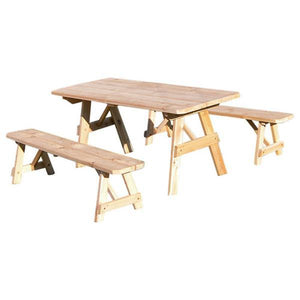 A & L Furniture Western Red Cedar Picnic Table with 2 Benches Picnic Table 4ft / Unfinished / No