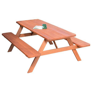 A & L Furniture Western Red Cedar Picnic Table with Attached Benches Picnic Table 4ft / Redwood / No