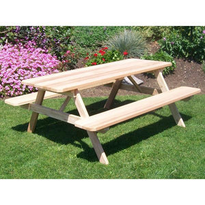 A & L Furniture Western Red Cedar Picnic Table with Attached Benches Picnic Table 4ft / Unfinished / No