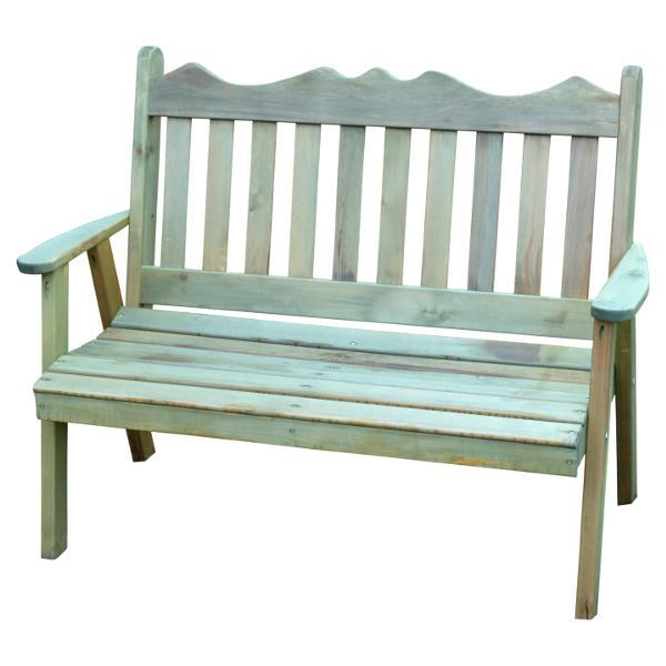 A & L Furniture Western Red Cedar Royal English Garden Bench Garden Benches 4ft / Unfinished