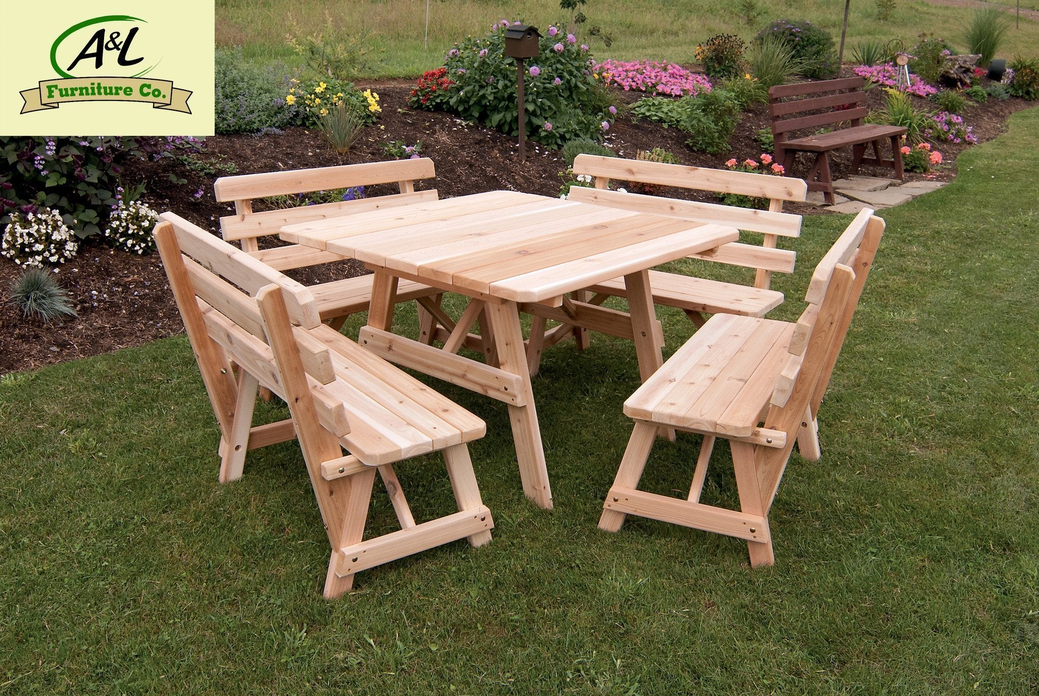- Buy The A & L Red Cedar 43 In. Square Table W Backed Benches