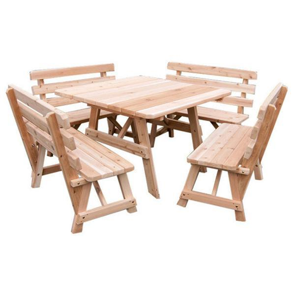 A & L Furniture Western Red Cedar Square Table with 4 Backed Benches Picnic Table Unfinished / No