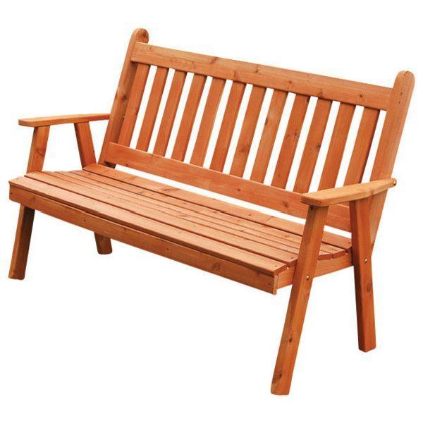 A & L Furniture Western Red Cedar Traditional English Garden Bench Garden Benches 4ft / Redwood