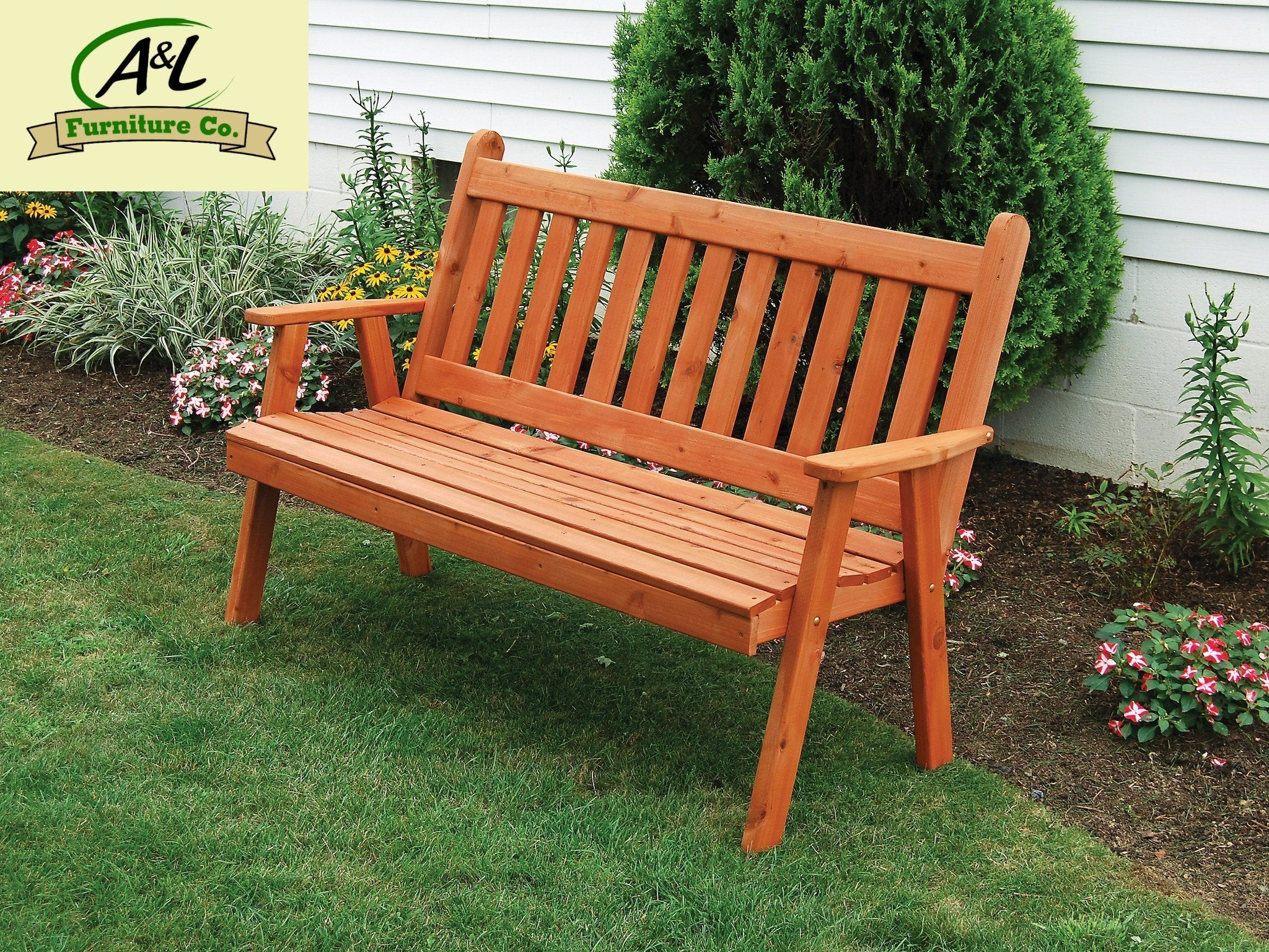 A & L Furniture Western Red Cedar Traditional English Garden Bench Garden Benches 4ft / Unfinished