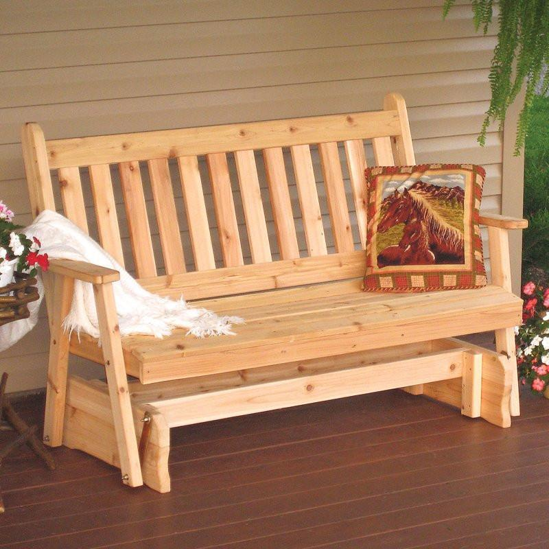 A & L Furniture Western Red Cedar Traditional English Glider Gliders 4ft / Unfinished