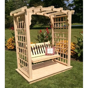 A & L Furniture Yellow Pine Cambridge Arbor with Deck & Swing Porch Swings 5ft / Unfinished