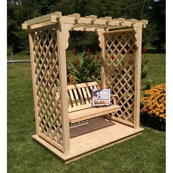 A & L Furniture Yellow Pine Covington Arbor with Deck & Swing Porch Swings 5ft / Unfinished
