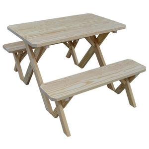 A & L Furniture Yellow Pine Cross Legged Picnic Table with 2 Benches Picnic Table 4ft / Unfinished / No