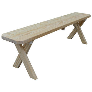 A & L Furniture Yellow Pine Crossleg Bench Size 5ft, 6ft, 8ft Picnic Bench 5ft / Unfinished