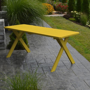 A & L Furniture Yellow Pine Crossleg Table – Size 6ft & 8ft Outdoor Tables 6ft / Canary Yellow / No