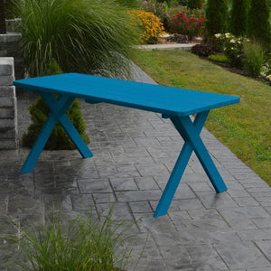 A & L Furniture Yellow Pine Crossleg Table – Size 6ft & 8ft Outdoor Tables 6ft / Caribbean Blue / No