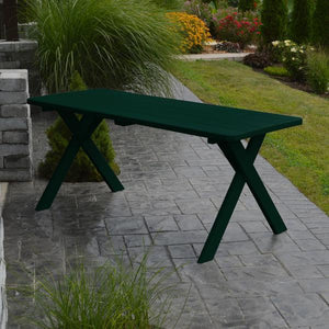 A & L Furniture Yellow Pine Crossleg Table – Size 6ft & 8ft Outdoor Tables 6ft / Dark Green / No